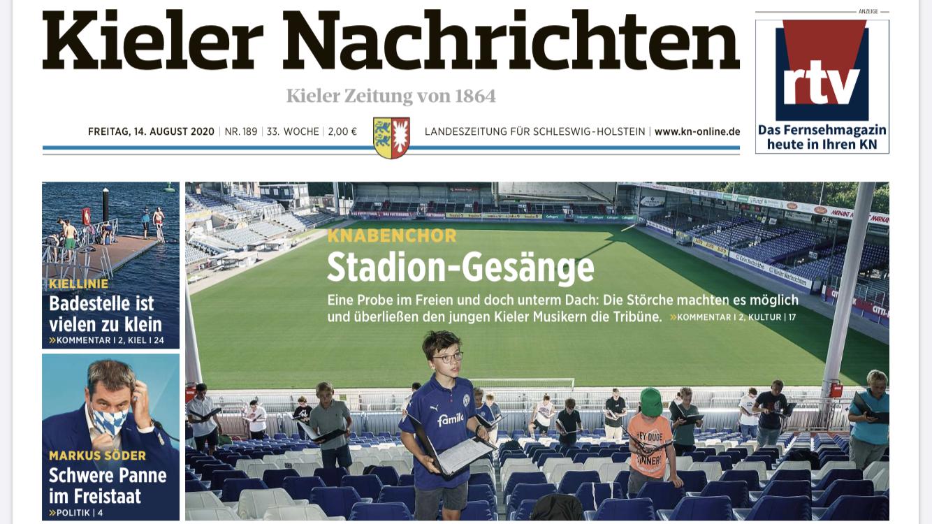 Kieler Nachrichten - Titelseite vom 14.08.2020